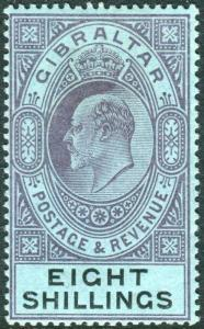 GIBRALTAR-1903 8/- Dull Purple & Black/Blue superb lightly mounted mint Sg 54