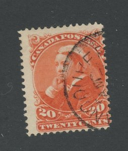 Canada Used Queen Victoria Widow Weeds Stamp #46-20c Fine Guide Value = $50.00