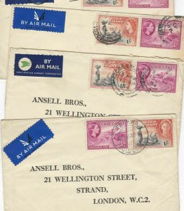 GOLD COAST COVERS ONE HAS ELIZABETH AND GEORGE STAMPS ON
