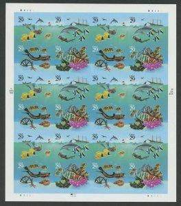#2866b 29c WONDERS OF THE SEA IMPERF MAJOR ERROR SHEET / 24 CV $2,700+ WLM9608
