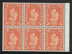 QB7a perf type Ie (top) - ½d Pale Orange Booklet pane UNMOUNTED MINT