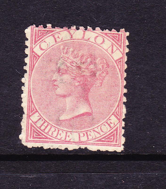 CEYLON  1866  3d  ROSE  QV MLH  P12 1/2  SG 60