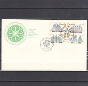 Canada, Scott cat. 744-747. Sailing Ships issue. First day cover. ^