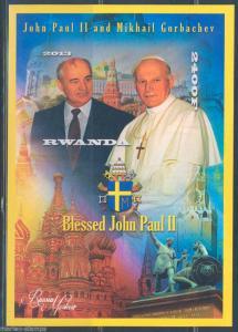 RWANDA POPE JOHN PAUL II & MIKHAIL GORBACHEV  SOUVENIR SHEET  MINT NH IMPERF