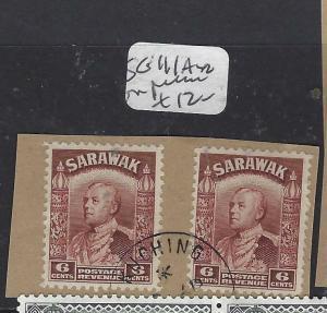 SARAWAK  (P2601B)  BROOKE 6C BROWN SG 111AX2 PIECE CDS  VFU