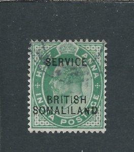 SOMALILAND OFFICIAL 1903 ½a YELLOW-GREEN GU SG O1 CAT £55