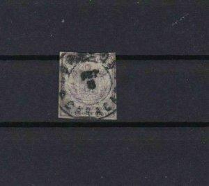 VENEZUELA 1862 IMPERF   STAMP ½ c LILAC  USED  CAT £190      REF 6287