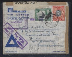 KENYA.UGANDA, TANGANYIKA (P0302B) 1945 FORMULA AEROGRAM EA HDZS CANSOR TO ENGLAN