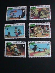 DISNEY-TURKS & CAICOS ISLAND STAMP-1981 DISNEY CARTOON- CHRISTMAS MINT SET VF