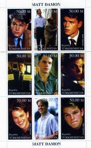 Turkmenistan 1999 Matt Damon Sheet (9) Perforated mnh.vf
