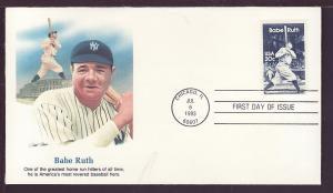 US 2046 Babe Ruth 1983 Fleetwood U/A FDC