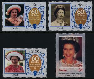 Tuvalu 357-60 MNH Queen Elizabeth 60th Birthday