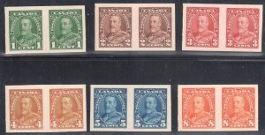 Canada #217p to 222p Imperf proof pair on Card