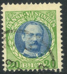 DANISH WEST INDIES 1908 20b FREDERIK VIII Portrait Issue Sc 46 VFU