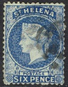 ST HELENA 1864 QV 6D WMK CROWN CC PERF 12.5 USED