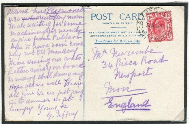TRANSVAAL 1912 Ilustrated POSTCARD to England Posted on board