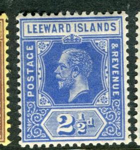 LEEWARD ISLANDS; 1921 early GV issue fine Mint hinged 2.5d. value, Shade