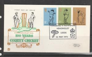 GB FDC 1973 Cricket, Yorkshire Vs Hampshire cancel, small label, address, Fine