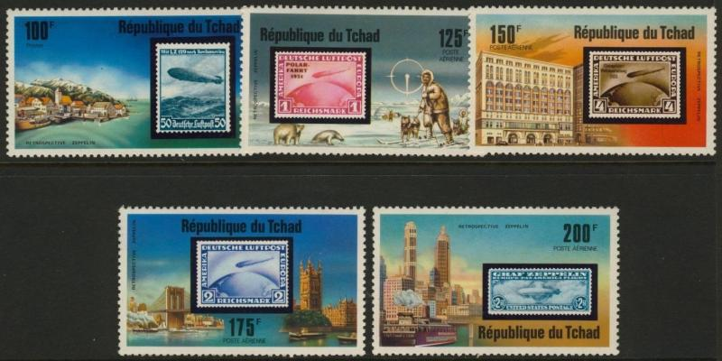 Chad 327,C206-10 MNH Stamp on Stamp, Zeppelins, Map, Architecture