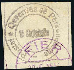 Albania 1913 (1p) PROVISIONAL ISSUE USED #20 Fier town d.s. CV$525.00 [180251]