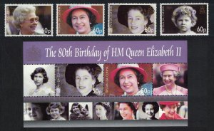 Tristan da Cunha 80th Birthday of HM Queen Elizabeth II 4v+MS SG#860-MS864