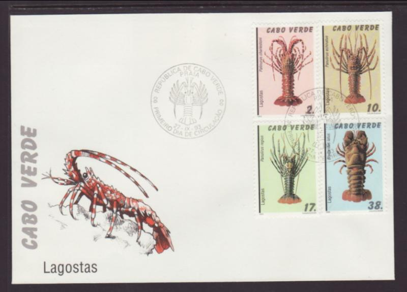 Cape Verde 646-649 Lobsters 1993 U/A FDC