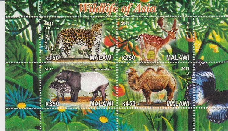 Malawi 2011 M/S Wildlife of Asia Animals Mammals Leopard Deer Camel Fauna Stamps