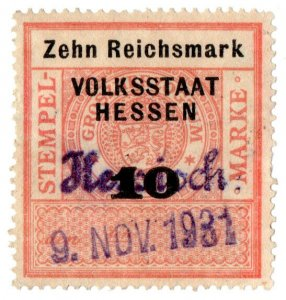 (I.B) Germany Revenue : Stempelmarke 10M (Hessen)