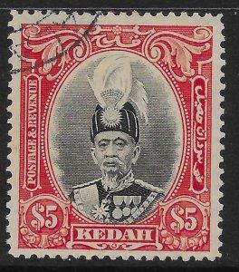 MALAYA KEDAH SG68 1937 $5 BLACK & SCARLET USED