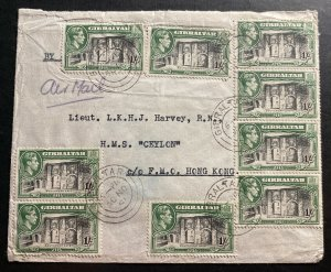 1951 Gibraltar Airmail Cover To HMS Ceylon Ship In Hong Kong