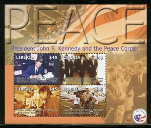 LIBERIA PRESIDENT JOHN F. KENNEDY AND THE PEACE CORPS SHEET  MINT NH