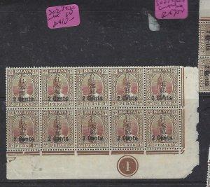MALAYA JAPANESE OCC  PERAK (P2404B) KANJI  2C/5C  SG J274 LR CORNER PL BL 10 MNH