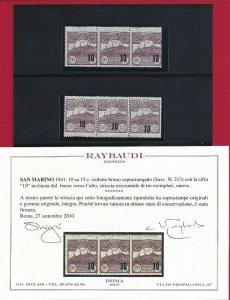 1941 San Marino, N° 213b Striped Di Three MNH / Varieties' Cert. Raybaudi