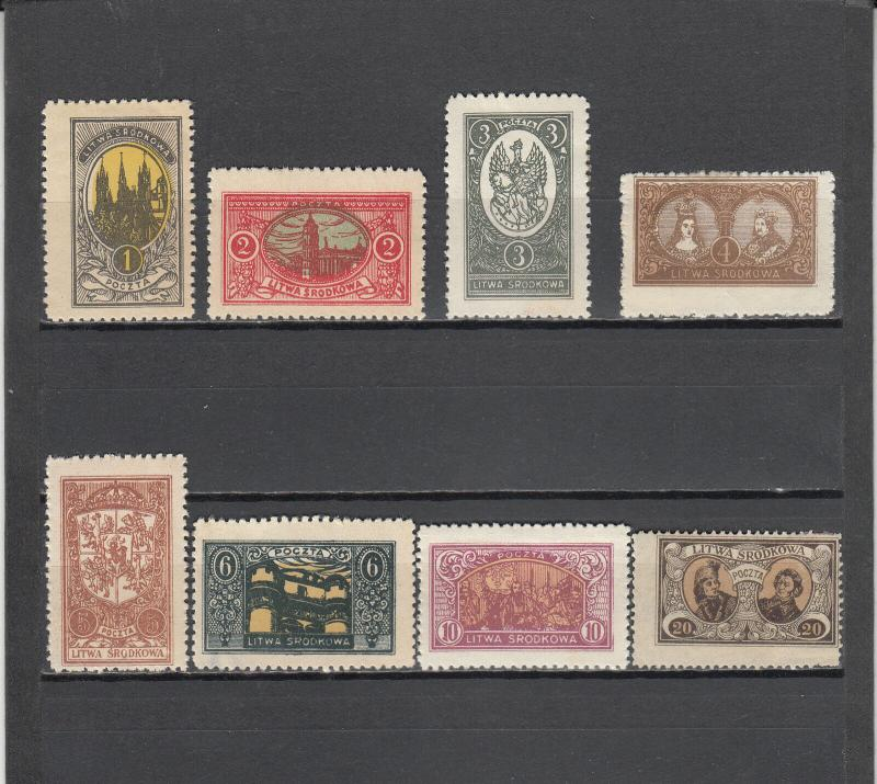 CENTRAL LITHUANIA 35-42 MINT 2014 SCOTT CATALOGUE VALUE $6.50