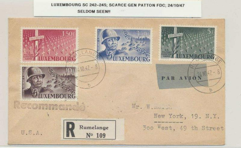 LUXEMBOURG 1947 RARE GENERAL PATTON SET FIRST DAY COVER TO USA, REG+100c ON REV
