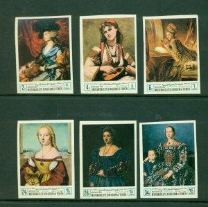 Yemen (Kingdom) Michel #485-90B (1968 Mothers Paintings set) VFMNH imperf CV €12