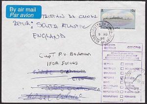 TRISTAN DA CUNHA 1996 cover to Croatia undelivered & returned to sender.....6564