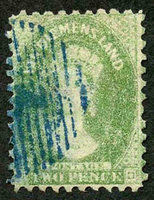 Tasmania SG60 2d yellow-green perf 10 Blue postmark