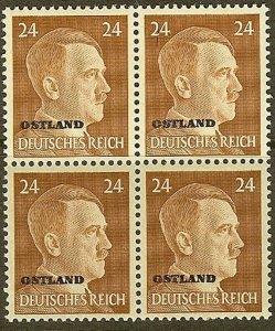 Stamp Germany Ostland Mi 12 Block 1941 WW2 3rd Reich Hitler Estonia MNH