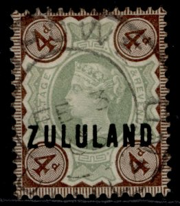 SOUTH AFRICA - Zululand QV SG6, 4d green & deep brown, USED. Cat £75.