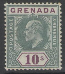 GRENADA SG76 1906 10/= GREEN & PURPLE MTD MINT