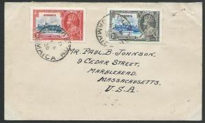 JAMAICA 1935 1d & 1½d Jubilee on cover - first day cancels.................53087