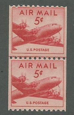 1948 United States Air Mail Scott Catalog Number C37 MNH Line Pair