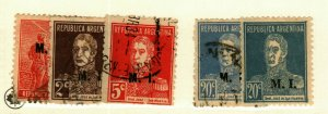 Argintina #OD150,OD168,OD171B,OD174B (2 copies) used Ministry of Interior