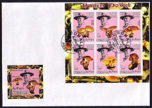 Somalia, 2001 Cinderella issue. Mushrooms & Scout Founder, sht/6. First day cvr.