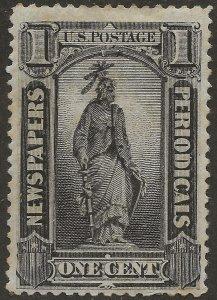 United States Newspaper Stamp 1894 SC PR90 1c Black Mint MH USA - CV $425