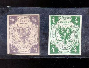 GERMAN STATES LUBECK 1859-62 STAMPS. COAT OF ARMS. SC6 1/2G AND SC4 4S  MH XF