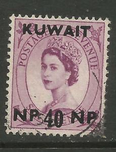 Kuwait 1957 - 58 QE2 40 np on 6d Wilding SG 128.( T607 )
