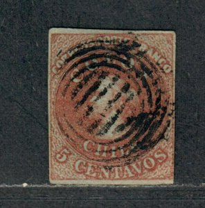 Chile Sc#1 Used/F-VF, Wmk B, Cv. $125