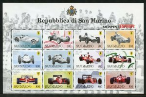 SAN  MARINO 50th ANNIVERSARY OF FERRARI SHEET OF TWELVE MINT NEVER HINGED